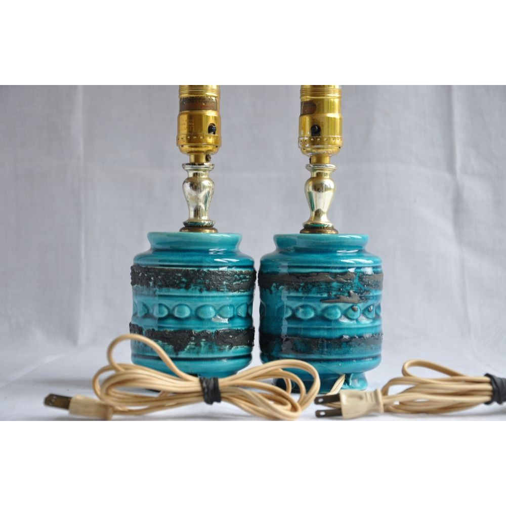 Paire de lampes de chevet vintage en c ramique bleue et noire - Lampe de chevet vintage ...