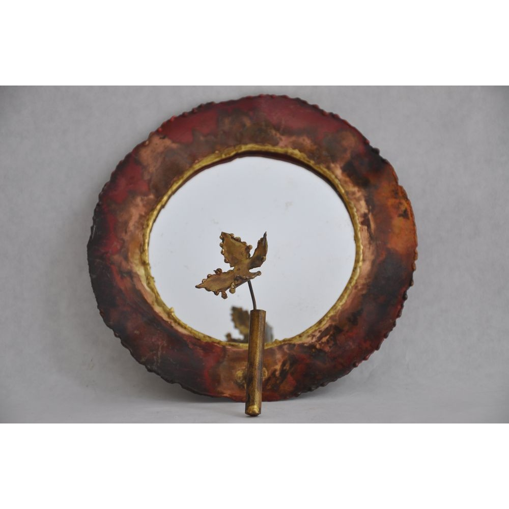 Brutalist art small round copper mirror with flower for Miroir decoration