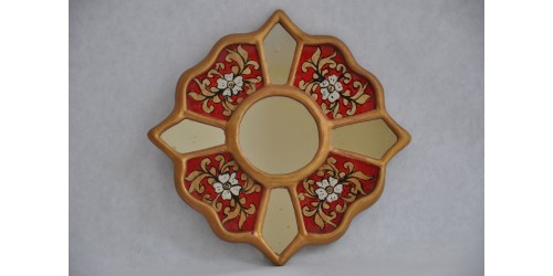 Vintage Reverse Painted and Gilded Faceted Peruvian Mirror