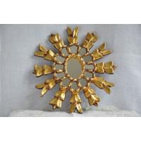 Miroir soleil fait à la main en bois sculpté et doré