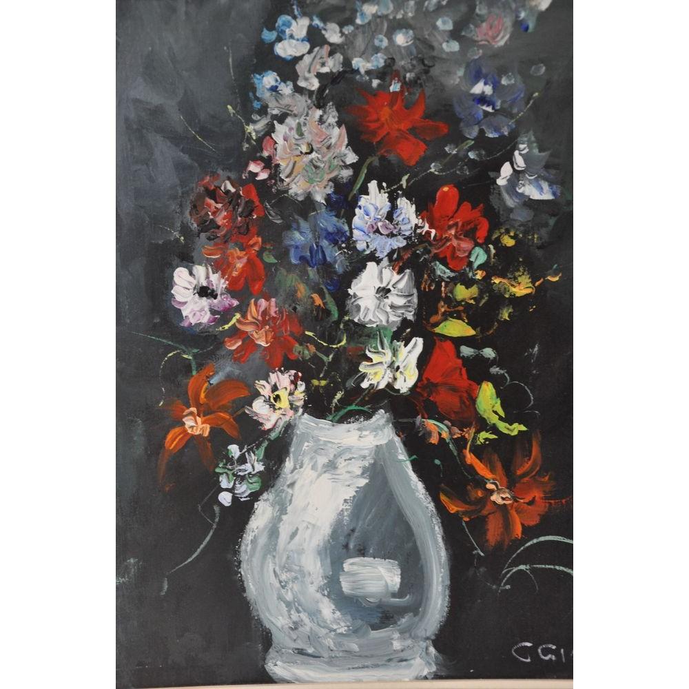 peinture l 39 huile d 39 un vase de fleurs. Black Bedroom Furniture Sets. Home Design Ideas