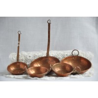 Vintage miniature copper pans and utensils