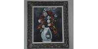 Peinture à l'huile vintage d'un vase de fleurs