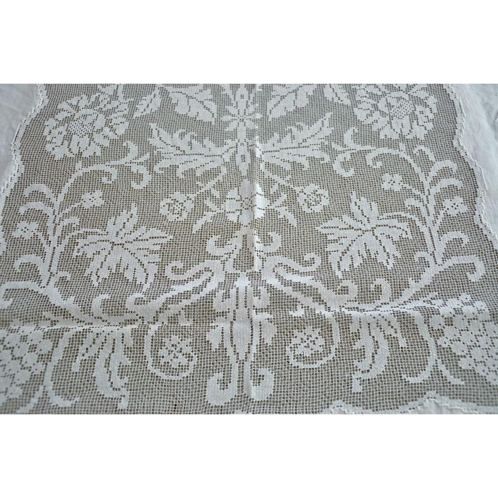 nappe blanche vintage lin et dentelle f tes grandes occasions. Black Bedroom Furniture Sets. Home Design Ideas