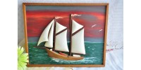 Vintage Folk Art Handcarved Sailboat on Board