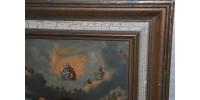 Huile ancienne 19e St-Michel et le dragon