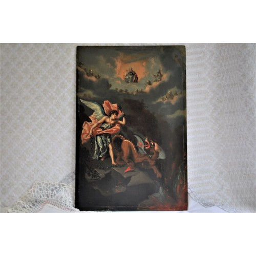 Antique Oil Painting of St. Michael And the Dragon