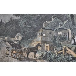 Gravure originale « On the Road to Sillery » 1871