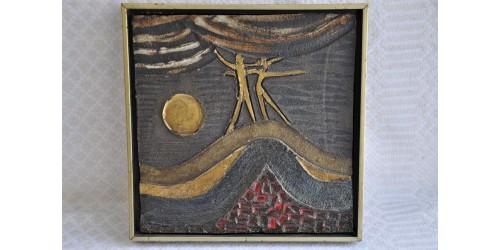 Tableau d'art en céramique signé Sucsan