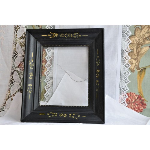 Victorian Eastlake Period Black Wood Frame