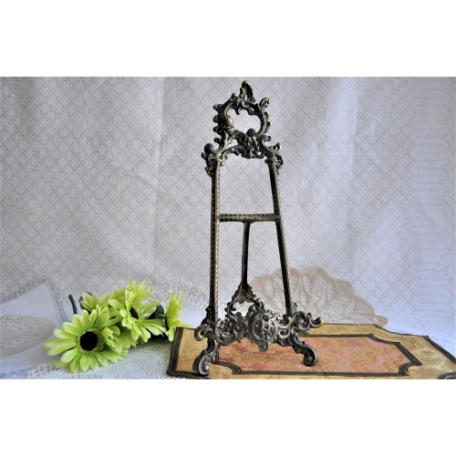 "Ornate 15"" High Brass Easel Display Stand"
