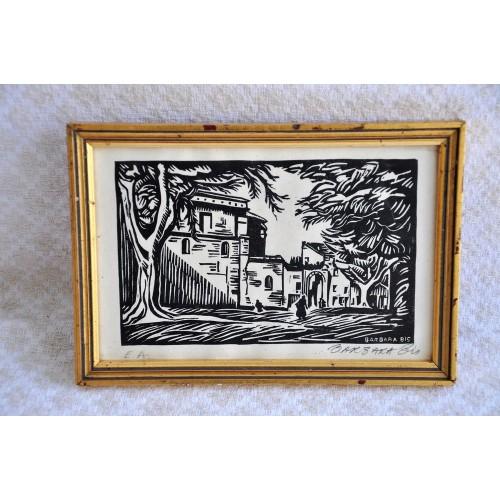 Original Woodcut Print signed Barbara Bis