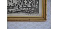 Gravure sur bois encadrée signée Barbara Bis