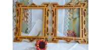 Pair of Folk Art Fret Work Wood Frames