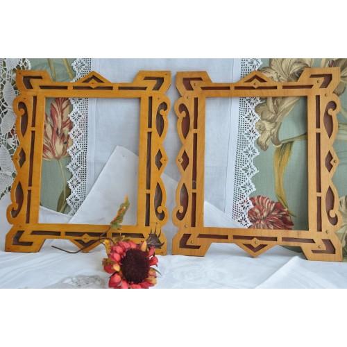 Pair of Folk Art Fret Work Wood Frames