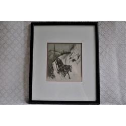"""Gravure originale """" Lumbering """" Picturesque Canada"""