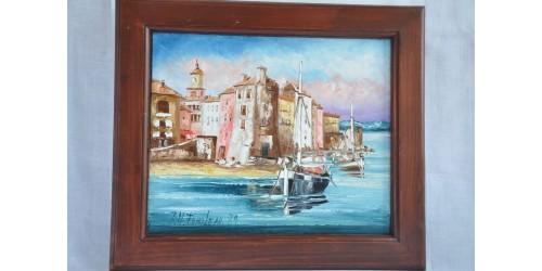 Tableau à l'huile original signé d'une scene de bord de mer