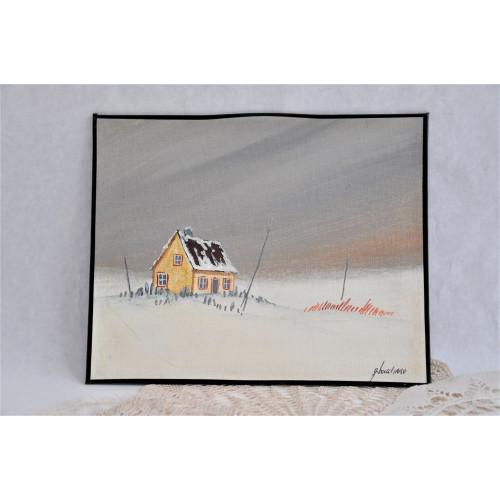 Petit tableau d'une scène d'hiver signé G. Bouchard