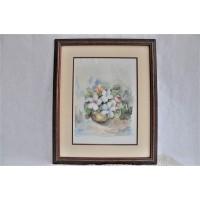 Original Framed Floral Bouquet Watercolor