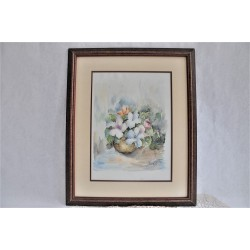 Original Framed Floral Bouquet Watercolor