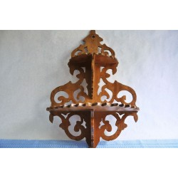 Antique Fretwork Solid Pine Wood Canadian Shelf