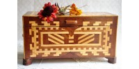 Vintage Quebec Folk Art Inlaid Document Box