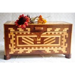 Vintage Quebec Folk Art Inlaid Document Box