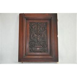 Porte de buffet antique en acajou à décor sculpté