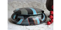 Art Deco Era Round Handpainted Wooden Box
