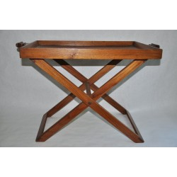 Removable Tray Folding Table Made of Black Walnut