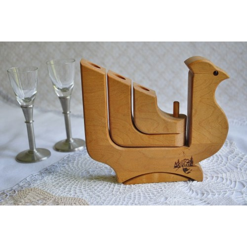 Triple Articulated Arms Wood Candle Holder