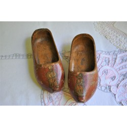 French Souvenir Wooden Shoes dated 1945