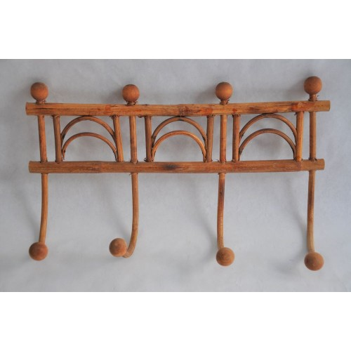 Antique wicker and wood wall coat or hat rack