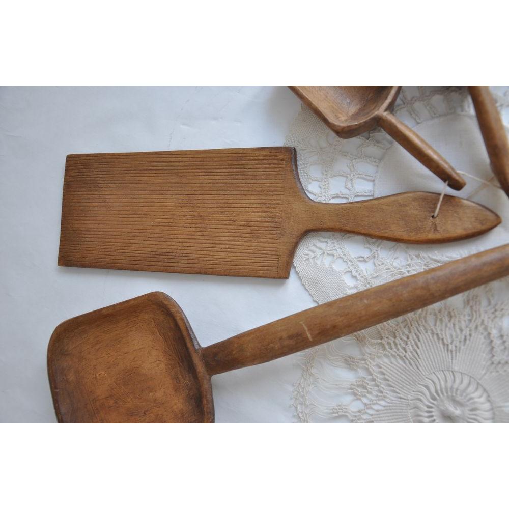 Ustensiles de cuisine primitifs bois sculpt s patin s - Ustensiles de cuisine en bois ...