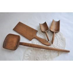 Set of Wonderfully Patinated Wood Kitchen Tools