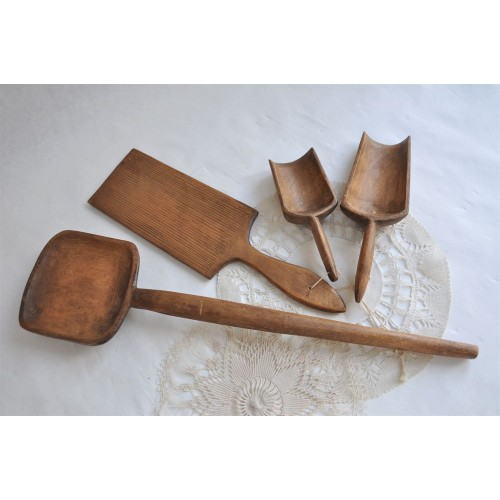 Set of Wonderfully Patinated Wood Kitchen Tools