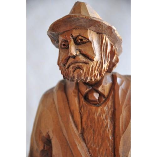 Quebec Signed Wood Carving of an Old Beggar