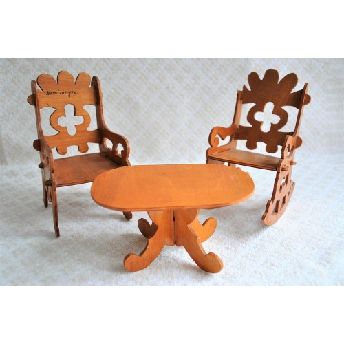Small Folk Art Doll's House Chair and Table
