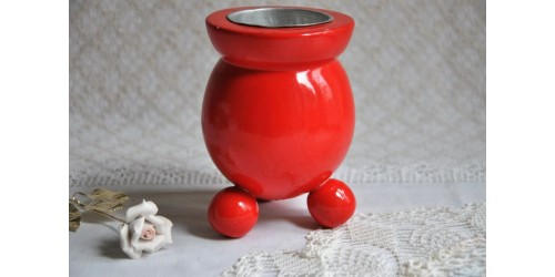 Swedish Wood Red Ball Footed Candle Holder