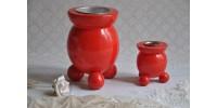Porte-bougies en bois rouge design suédois