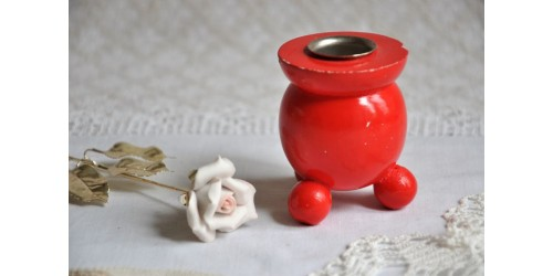 Small Swedish Red Ball Footed Candle Holder