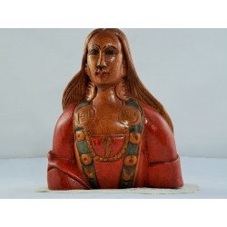 Wood Sculpture of a Native Huron-Wendat Woman