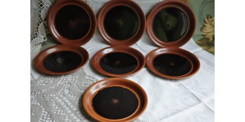 Sial Stoneware Bread Dark Brown Plates