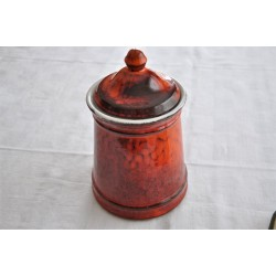 Vintage Red Orange Lidded Cookie Jar Flour Canister