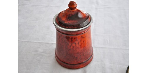 Vintage Red Orange Lidded Cookie Jar Flour Canister