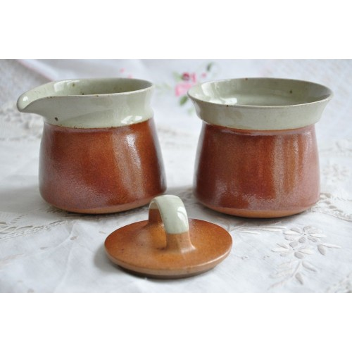 Vintage Sial Oval Ceramic Cream and Sugar Set