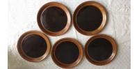 Assiettes à lunch brun tenmoku en grès SIAL