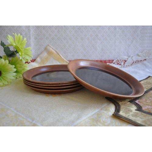 Sial Stoneware Tenmoku Brown Luncheon Plates