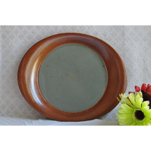 Sial Stoneware Grey & Rust Serving Plate