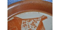 Assiette décorative en grès Sial signée B. Morrain